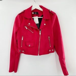 Only Pink faux suede moto jacket NWT